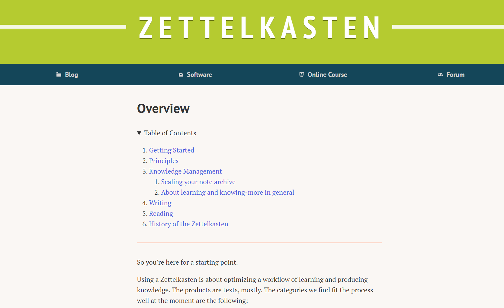 Zettelkasten.de homepage